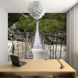 Adhésif mural pont en bois