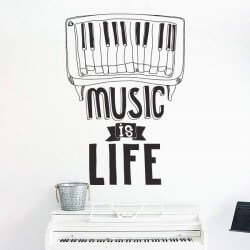 Sticker phrase music is life