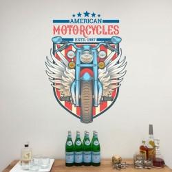 Adhésif mural moto américaine