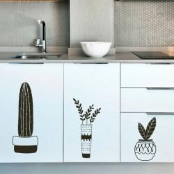 Adhésif vases avec cactus