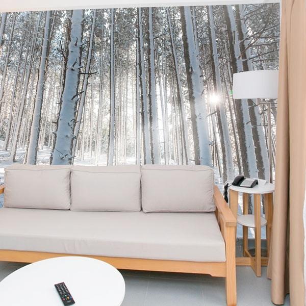 papier peint neige dans la for t. Black Bedroom Furniture Sets. Home Design Ideas