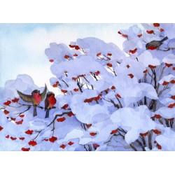 Déco murale oiseaux dans la neige