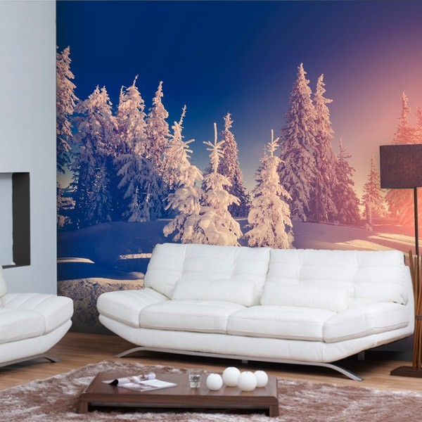 poster mural neige dans la for t. Black Bedroom Furniture Sets. Home Design Ideas