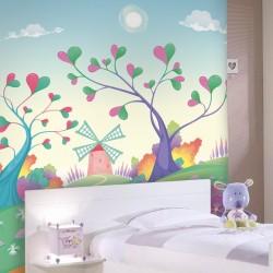 Adhésif mural arbres aux...