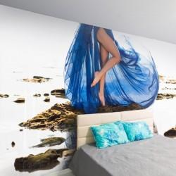 Papier peint robe bleue