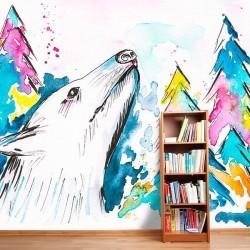 Papier peint loup aquarelle