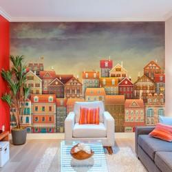 Adhésif maisons colorées