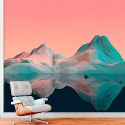 poster mural montagne 3d. Black Bedroom Furniture Sets. Home Design Ideas