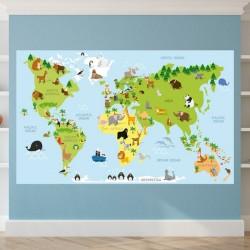 Carte du monde avec animaux