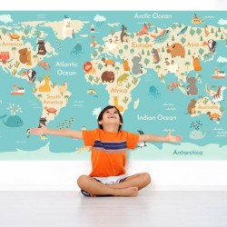 Adhésif carte du monde enfants