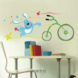 Sticker enfant lapin vélo