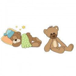 Sticker bébé deux ours