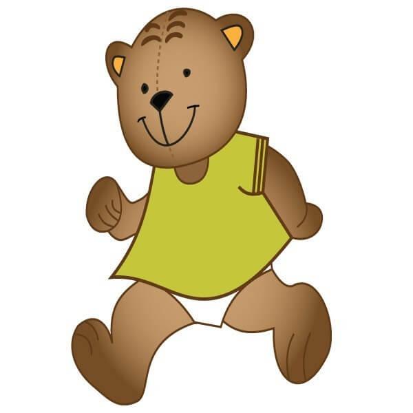 Sticker bébé ours marchant